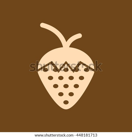 Very Useful Editable Vector icon of Strawberry on coffee color background. eps-10.