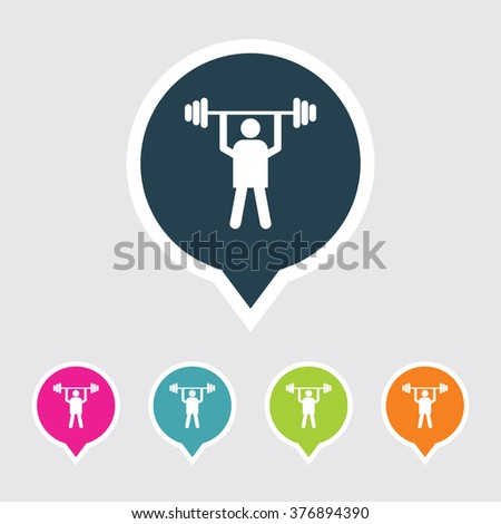 Very Useful Editable Weight Lifter Icon on Different Colored Pointer Shape. Eps-10. - stock vector
