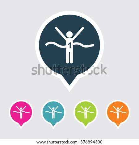 Very Useful Editable Winner Runner Icon on Different Colored Pointer Shape. Eps-10. - stock vector