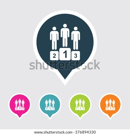 Very Useful Editable Winners Podium Icon on Different Colored Pointer Shape. Eps-10. - stock vector