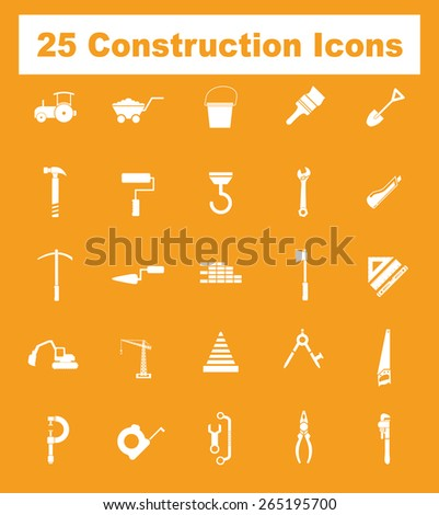Very Useful Flat Construction Icons on UI Colors. Eps-10. - stock vector