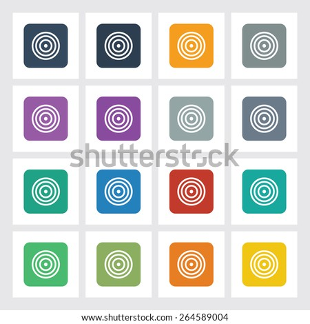 Very Useful Flat Icon of Bulls Eye with Different UI Colors. Eps-10. - stock vector