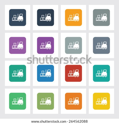 Very Useful Flat Icon of Fork Lift with Different UI Colors. Eps-10. - stock vector