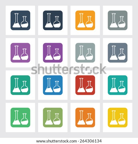 Very Useful Flat Icon of Lab Glass with Different UI Colors. Eps-10.