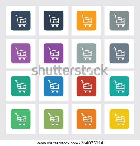 Very Useful Flat Icon of Shopping Cart with Different UI Colors. Eps-10.