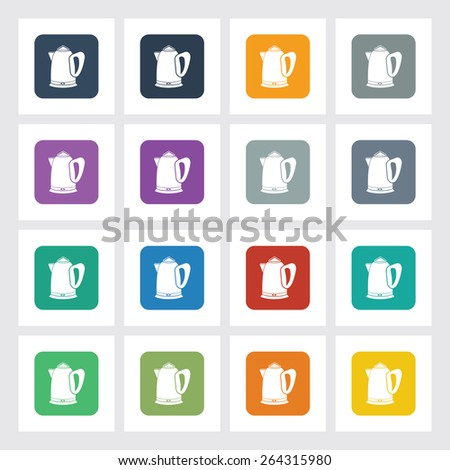 Very Useful Flat Icon of Tea kettle with Different UI Colors. Eps-10. - stock vector