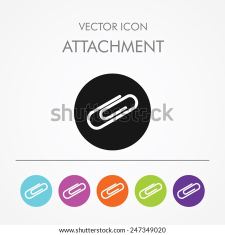 Very Useful Icon of attachment On Multicolored Flat Round Buttons. - stock vector