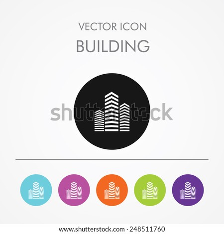 Very Useful Icon of Building On Multicolored Flat Round Buttons. - stock vector