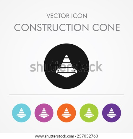 Very useful icon of construction cone on Multicolored Round Buttons. - stock vector