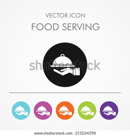 Very Useful Icon of food serving on Multicolored Round Buttons. - stock vector