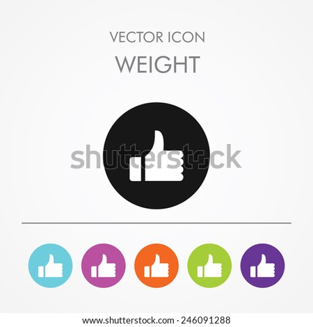 Very useful icon of Like on Multicolored Round Buttons.  - stock vector
