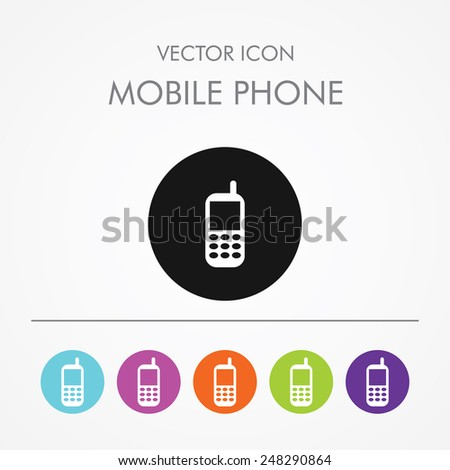 Very Useful Icon of mobile phone On Multicolored Flat Round Buttons. - stock vector