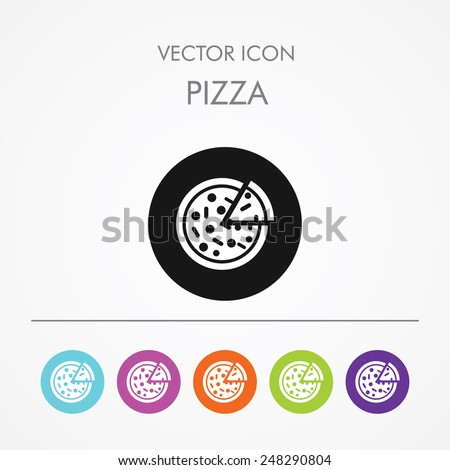Very Useful Icon of pizza On Multicolored Flat Round Buttons. - stock vector