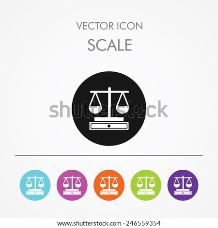 Very Useful Icon of Scale On Multicolored Flat Round Buttons. - stock vector
