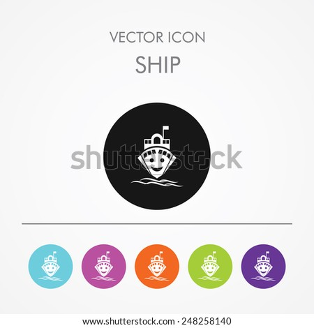 Very Useful Icon of ship on Multicolored Round Buttons. - stock vector