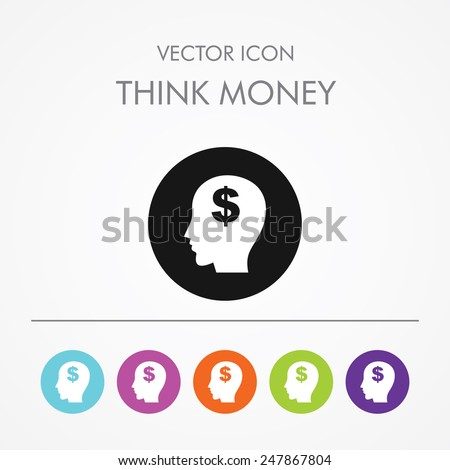 Very Useful Icon of think money On Multicolored Flat Round Buttons. - stock vector