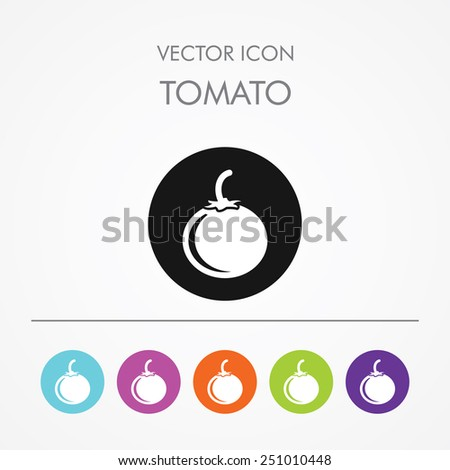 Very Useful Icon of tomato on Multicolored Round Buttons. - stock vector