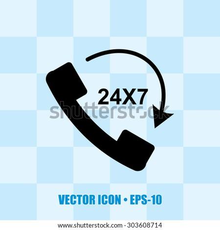 Very Useful Icon Of 24X7 Calling. Eps-10. - stock vector