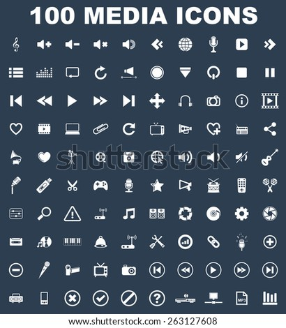 Very Useful Music Media Icon Set On Flat UI Color Background.  - stock vector