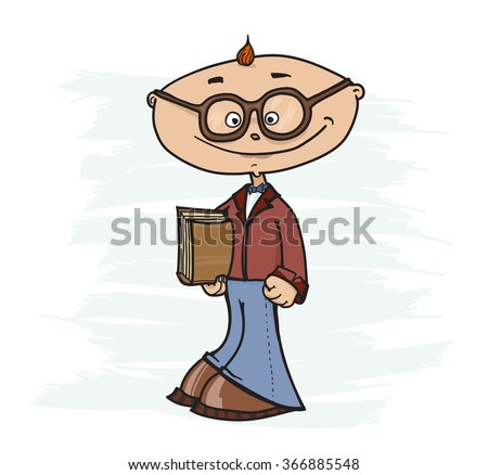 very very smart boy with the book at the hands - stock vector