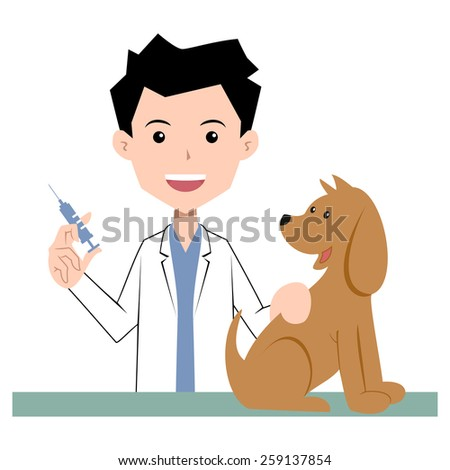 Vet and dog, vaccination, vector illustration - stock vector