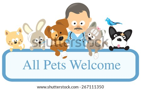 Vet and pets holding sign  - stock vector