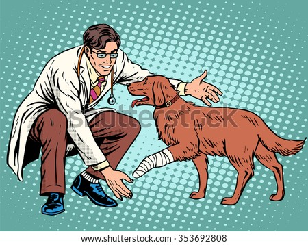 vet dog wounded paw pop art retro style. Doctor of veterinarian and treatment in the veterinary clinic. treatment of domestic and farm animals. Pets - stock vector