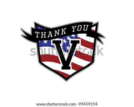 Veteran's Day Thank you Shield. - stock vector
