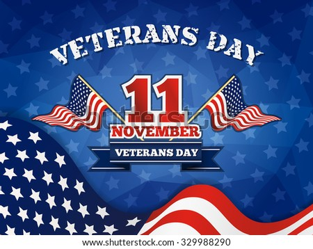 Veterans Day Badge and Background With Wavy USA Flag Design. Vector illustration