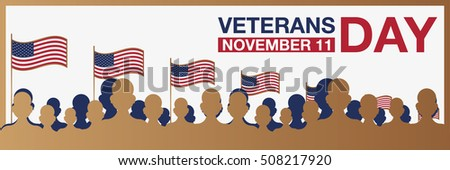 Veterans day horizon promo banner. Usa flag and people on background. Vector illustration.