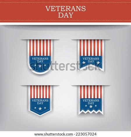 Veterans day ribbon elements for websites. Eps10 vector illustration - stock vector