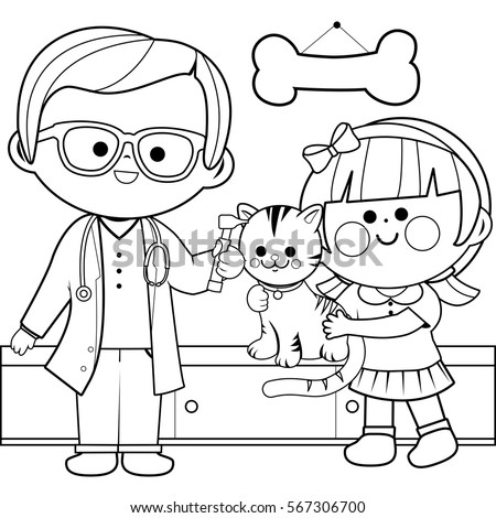 Veterinarian Examining A Cat Coloring Book Page