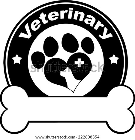 Veterinary Black Circle Label Design With Love Paw Dog, Cross And Bone Under Text. Vector Illustration Isolated on white - stock vector