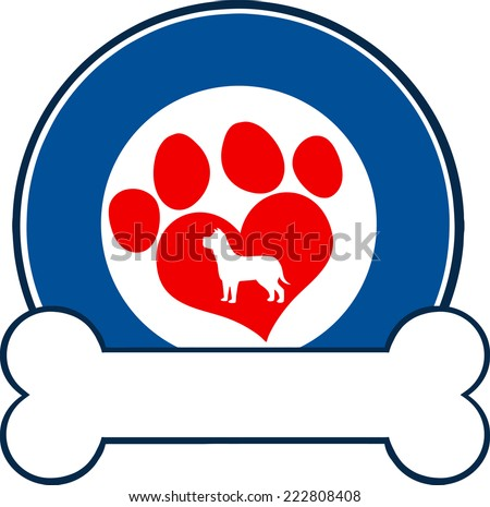 Veterinary Blue Circle Label Design With Love Paw Dog And Bone. Vector Illustration Isolated on white - stock vector