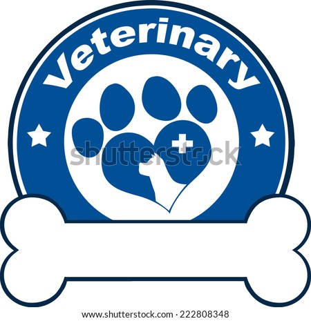 Veterinary Blue Circle Label With Love Paw Dog, Cross And Bone Under Text. Vector Illustration Isolated on white - stock vector