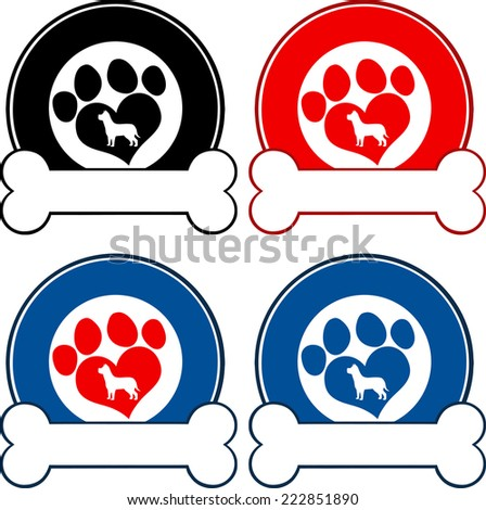Veterinary Circle Labels With Love Paw Dog And Bone. Vector Collection Set - stock vector