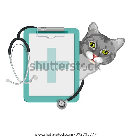 Veterinary clinic. Cat and stethoscope logo