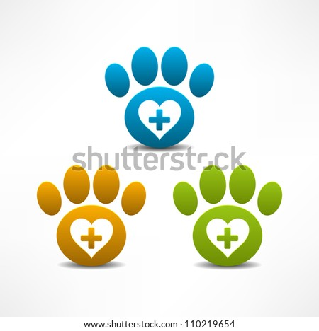 Veterinary Clinic symbol. Animal paw print - stock vector