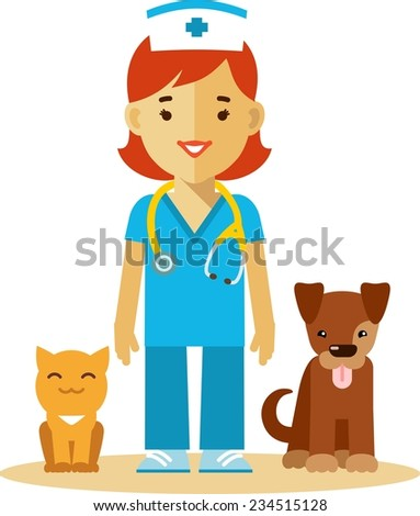 Veterinary concept with doctor, cat and dog in flat style - stock vector
