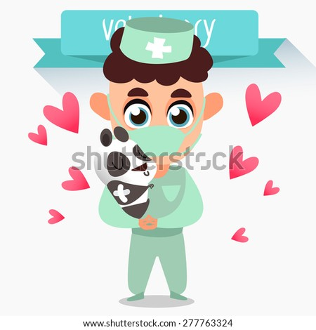 Veterinary concept with doctor medical examination of animal.  veterinary services - Emergency Room. Vector illustration. Profession vet. Treatment of panda - stock vector