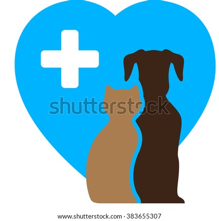 veterinary icon and pet symbol with dog, cat and blue heart