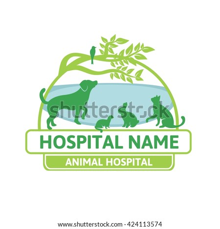 Veterinary logo. Vector silhouettes of  dog, cat, rabbit and gopher for veterinary or  hospital - stock vector
