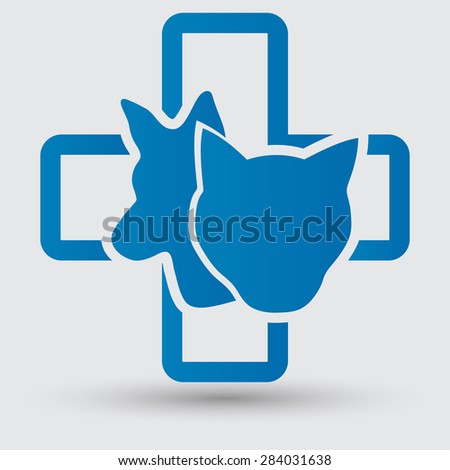 Veterinary sign cat and dog symbol - stock vector