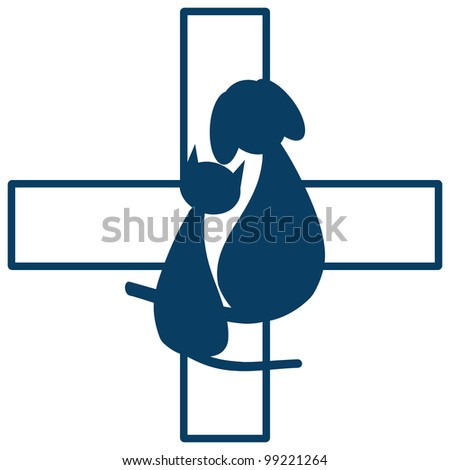 Veterinary sign with dog and cat - stock vector