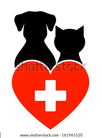 veterinary sign with dog, cat and heart with cross - stock vector