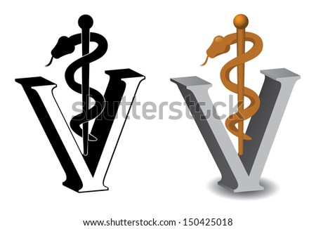 Veterinary Symbol Caduceus EPS 10 vector, grouped for easy editing. No open shapes or paths. - stock vector