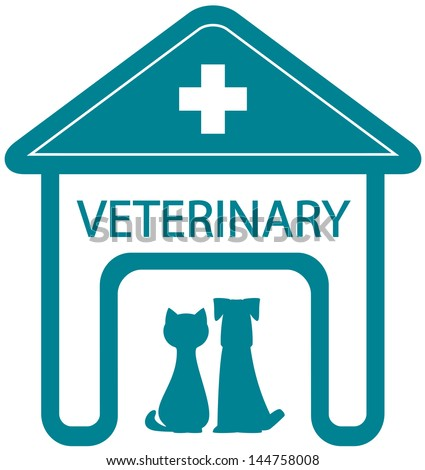 veterinary symbol with home clinic silhouette and pet - cat and dog  - stock vector