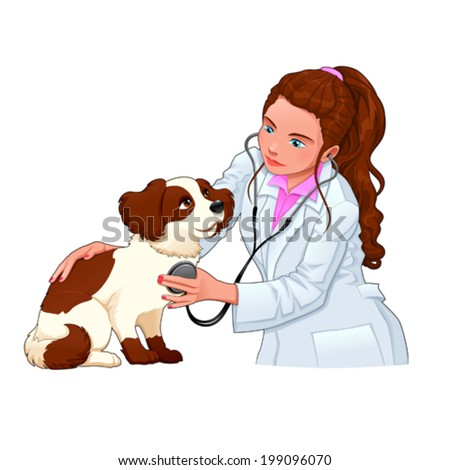 Veterinary with dog. Funny cartoon and vector illustration, isolated characters. - stock vector