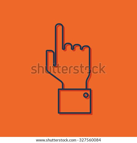 Vetor blue outline hand pointer icon on orange background with shadow  - stock vector