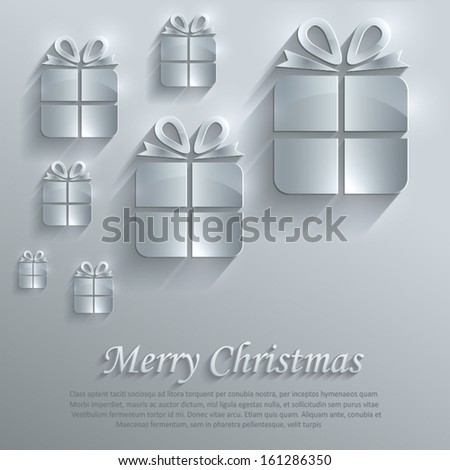 vetor Christmas gift glass card paper 3D